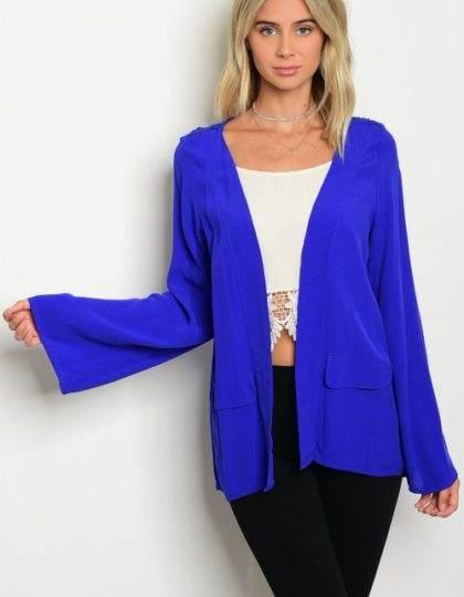 blue crochet blazer F
