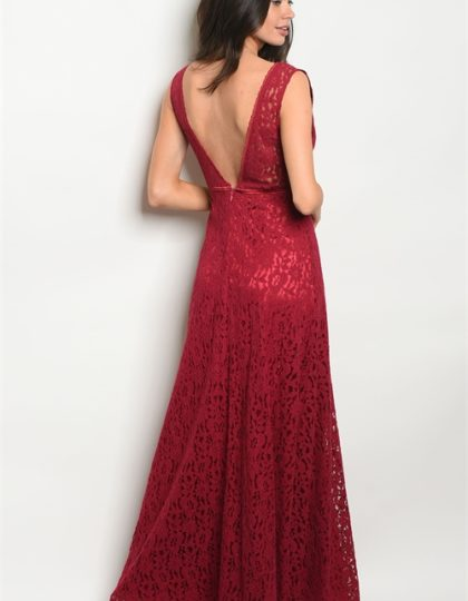 burgundy long dress B