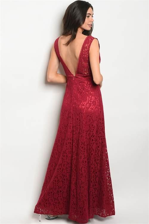 burgundy long dress B