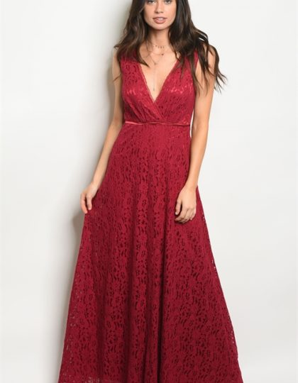 burgundy long dress F