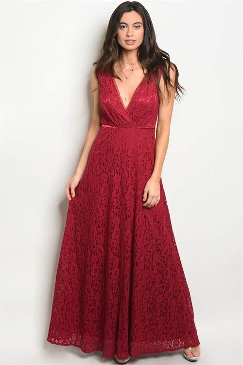 burgundy long dress F