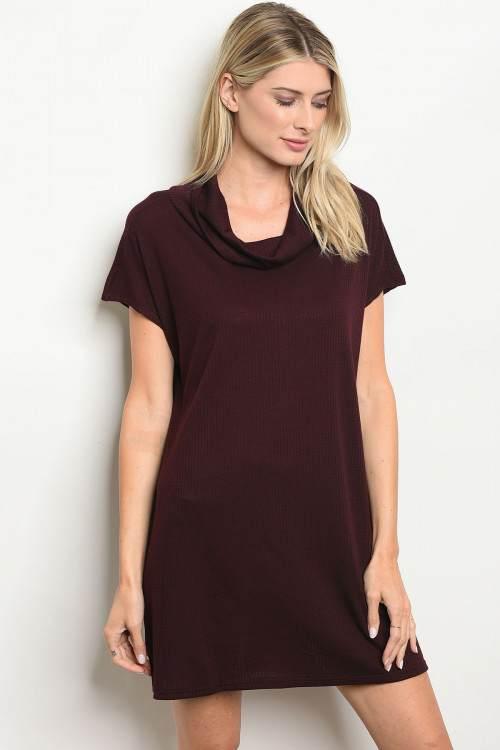 burgundy dress F
