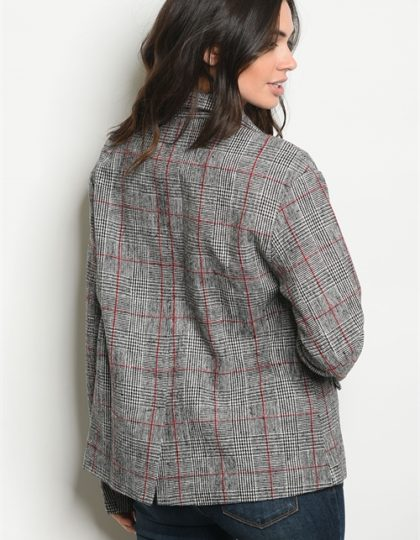 WOMENS GREY PLAID JACKET