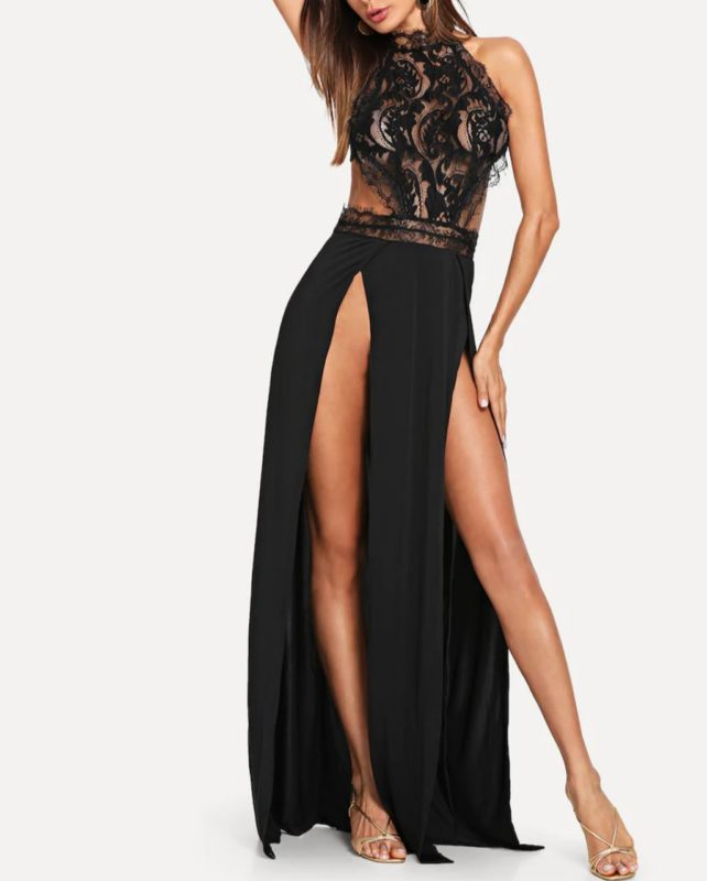 BLACK LACE Double SLIT Long Dress