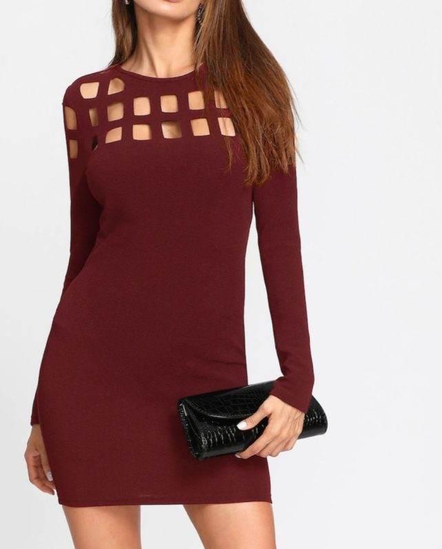 Burgundy Cutout Bodycon Dress