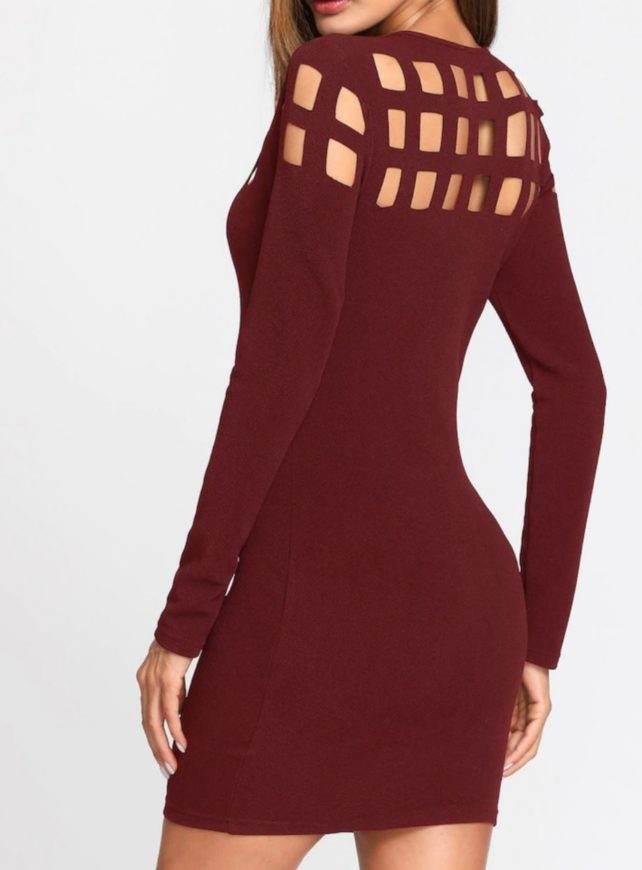 Burgundy Cutout Bodycon Frormal Dress