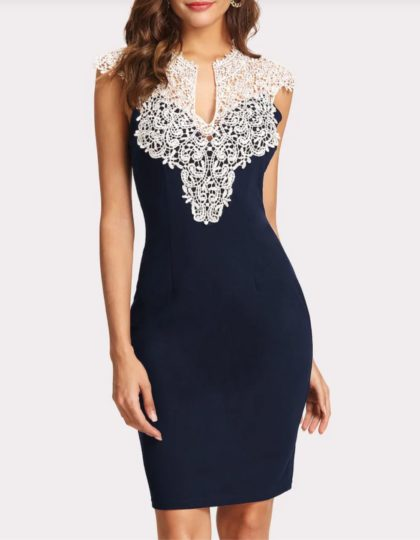 Navy Lace Yoke Dress