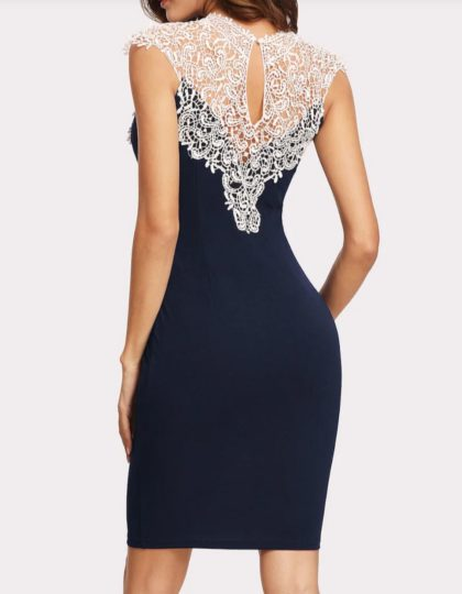 Navy Lace Yoke Dress Bridal