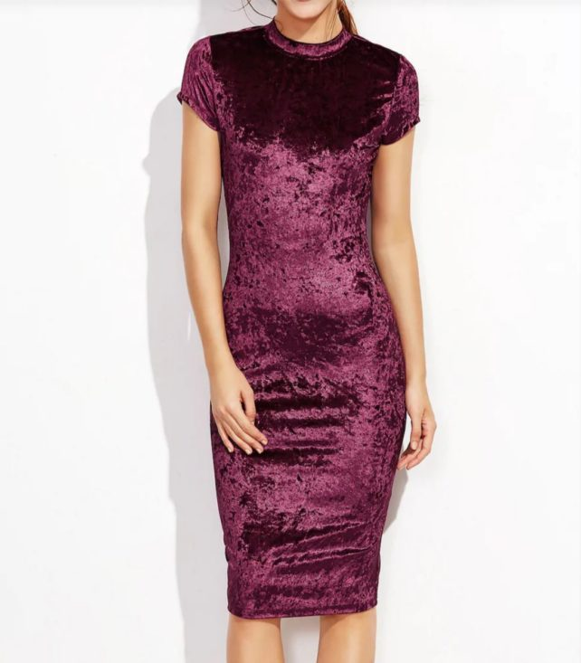 Plum Crushed Velvet Bodycon Dress