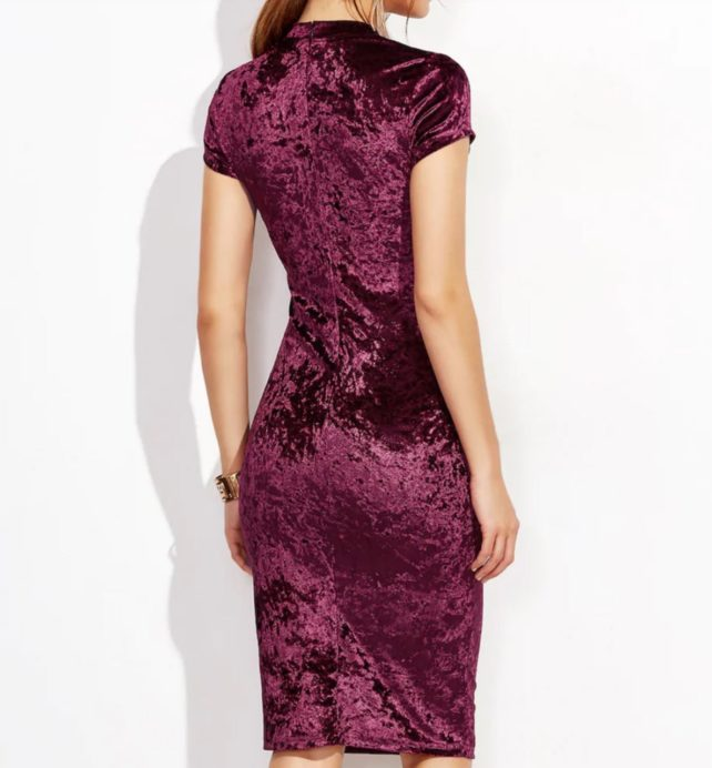 Plum Crushed Velvet Formal Dress