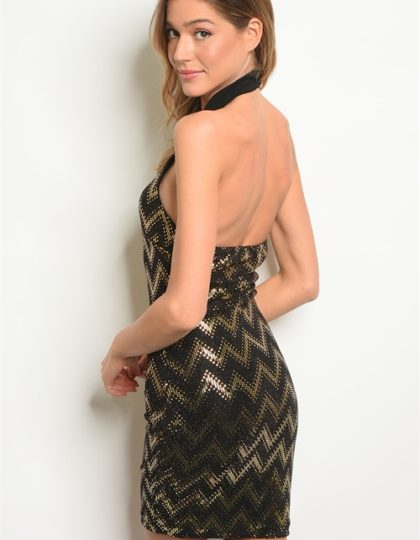 black-gold sequins dress back