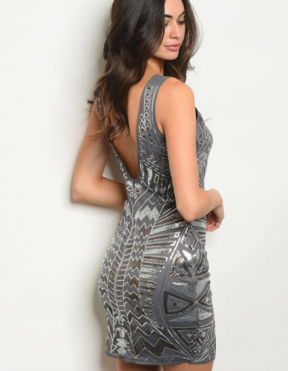 charcoal sequins dress back