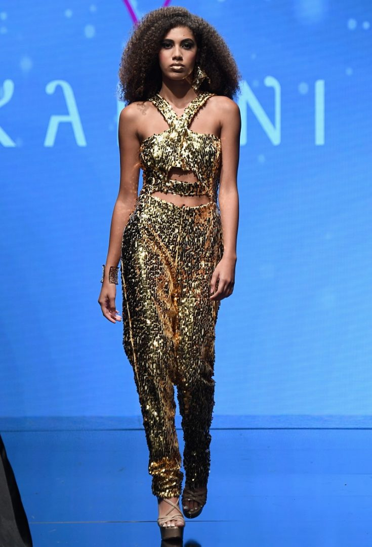 Couture gold sequin designer jumpsuit
