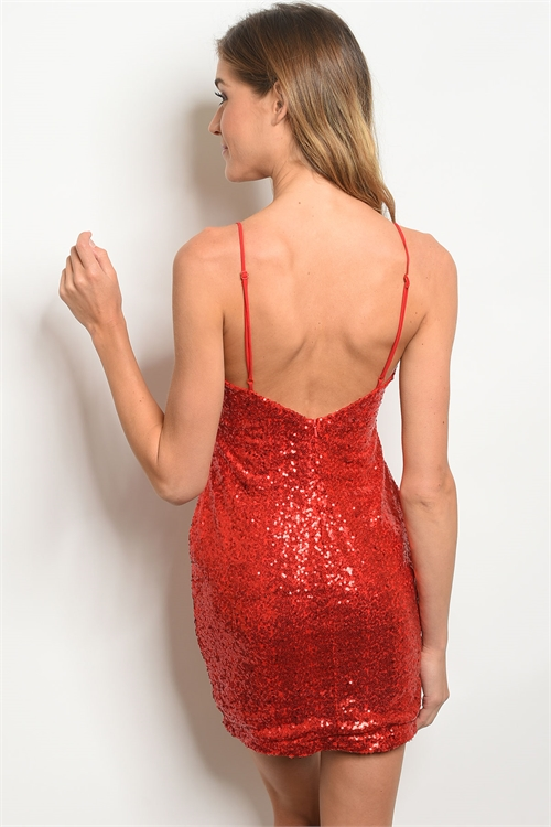 red sequins dress back