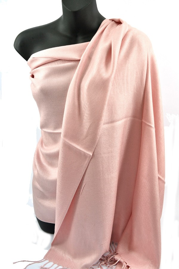 Light Peach Pashmina Silk Scarf