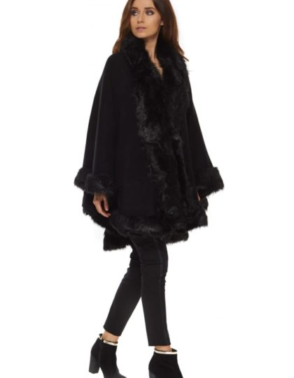 BLACK FAUX FUR CAPE BELLEVUE BOUTIQUE