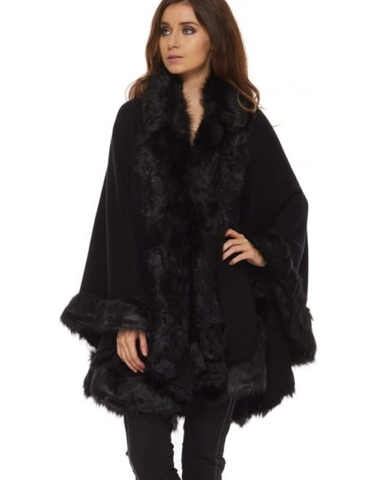 BLACK FAUX FUR CAPE BELLEVUE BOUTIQUE DRESS