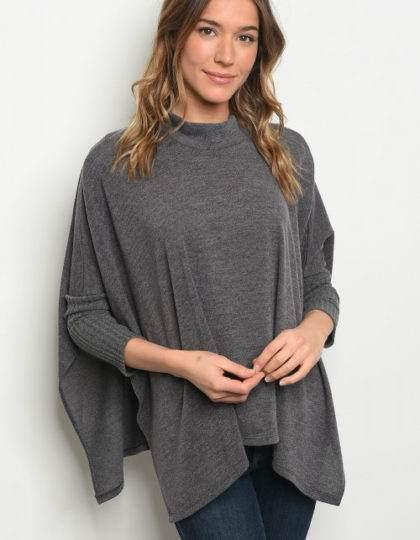grey poncho womens sweater