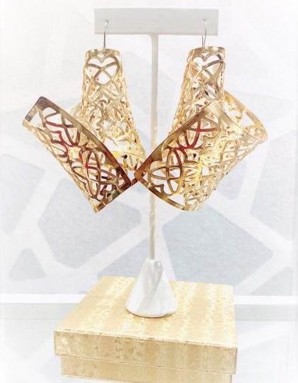 GOLD glamorous DESIGNER LONG EARRINGS