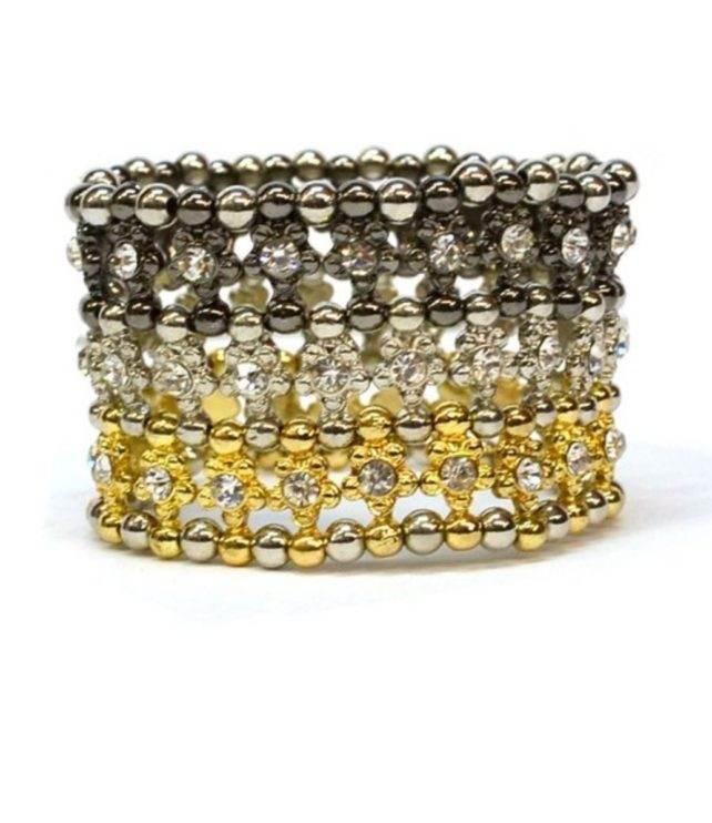 Gold Silver Rhinestone designer bracelet cuff