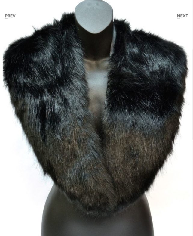 black faux fur collar scarf