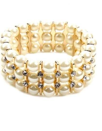 gold pearl rhinestone bracelet