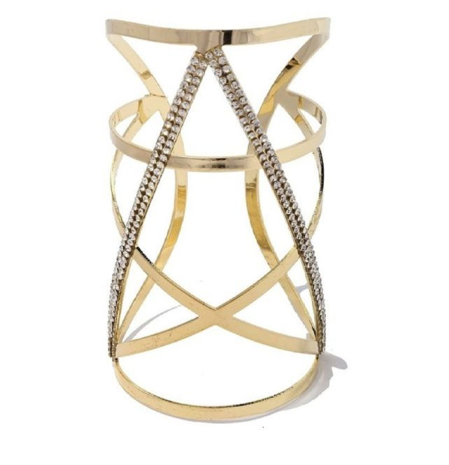gold statement geometric rhinestone cuff