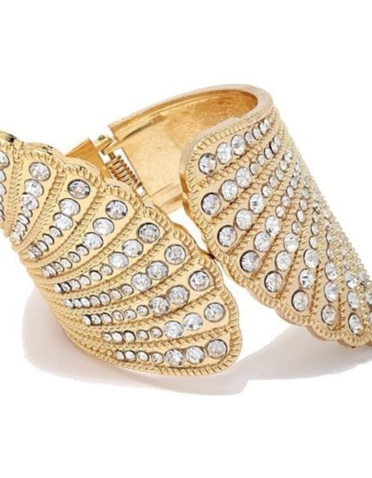 gold statement rhinestone cuff