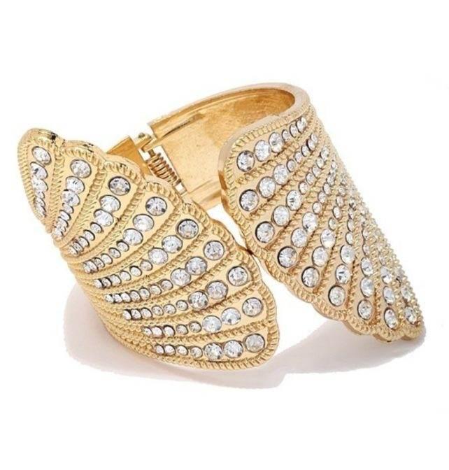 gold statement rhinestone cuff