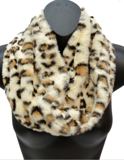 offwhite printed faux fur scarf