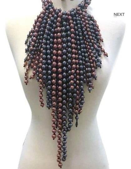 grey burgundy pearl bib statement necklace
