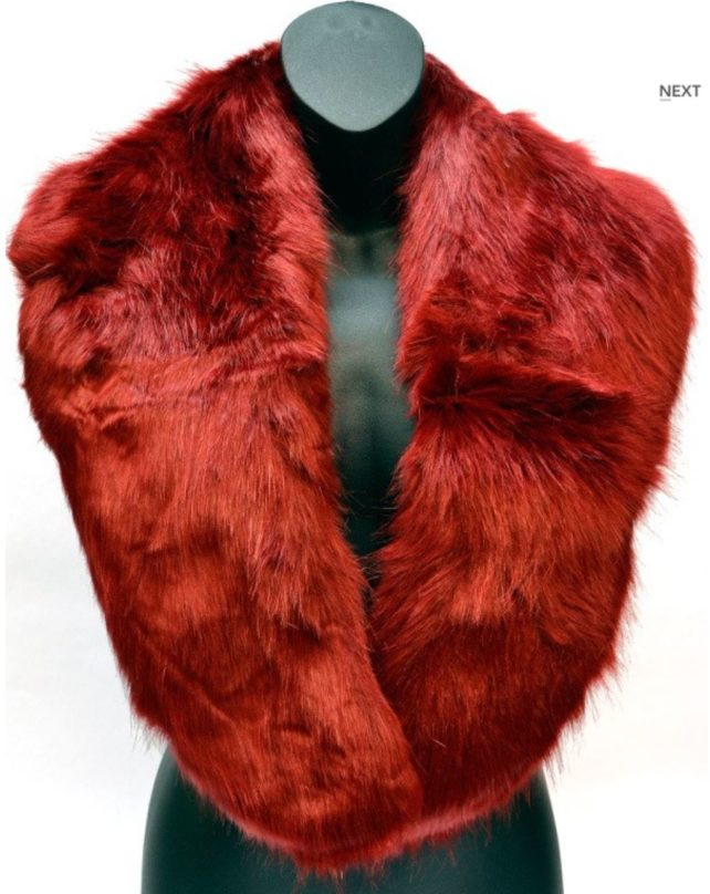 red faux fur collar scarf