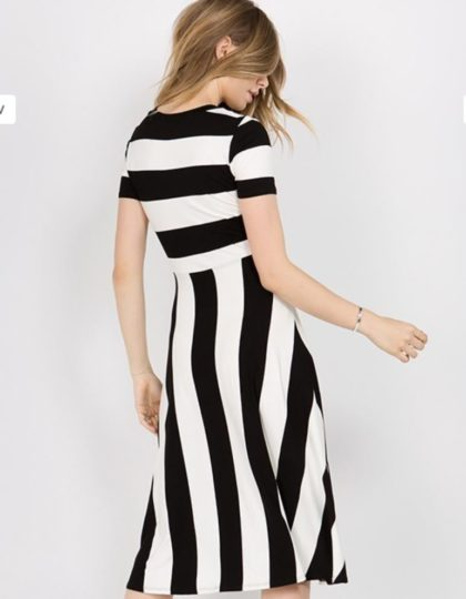 black an white stripe dress back designer fashion