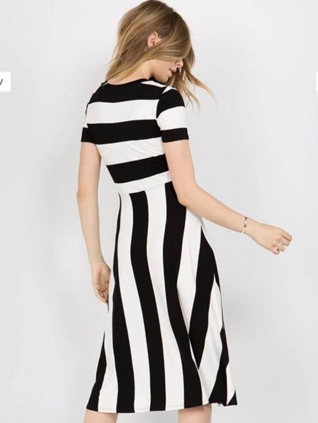 black an white stripe dress back designer fashion