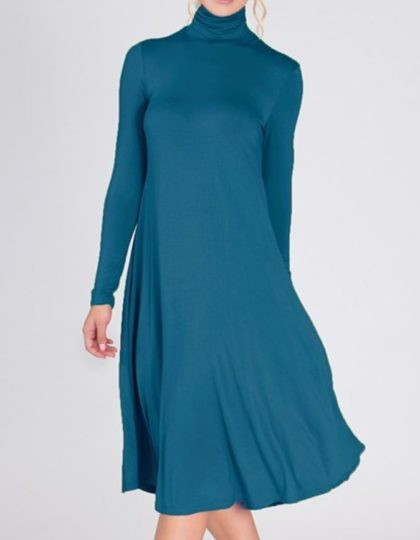 teal turtleneck dress fashion designer