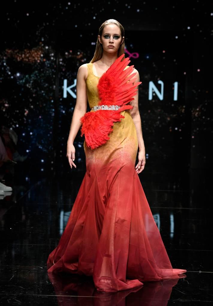 Kahini Fashion Hand painted designer long dress bellevue dress boutique